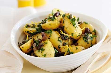 Potato Salad With Olive Oil Olives Lemon Parsley